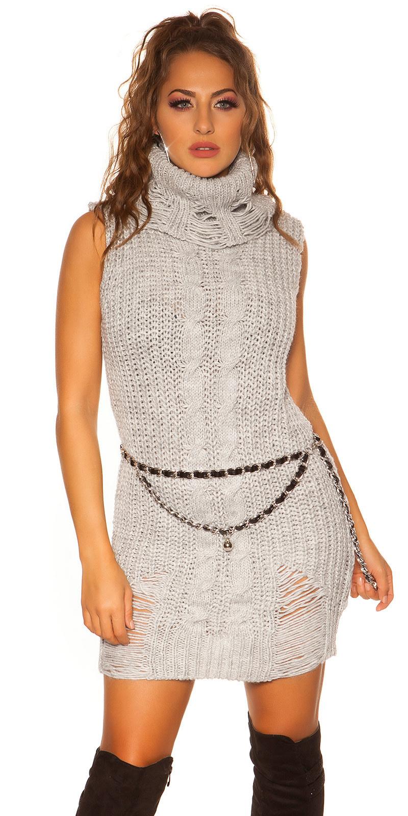 Trendy col gebreide mini jurkje - lange trui grijs