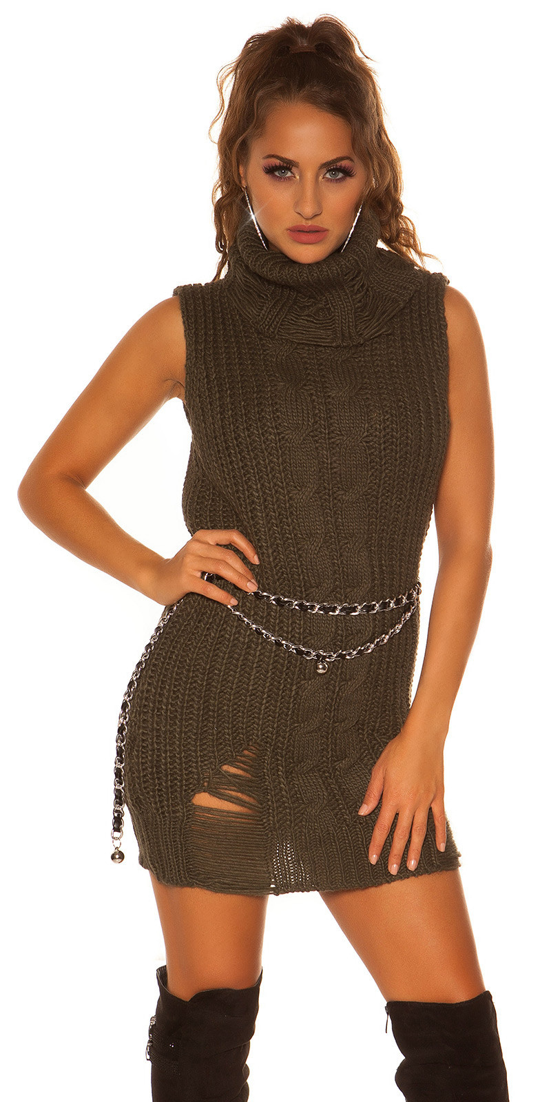 Trendy col gebreide mini jurkje - lange trui khaki
