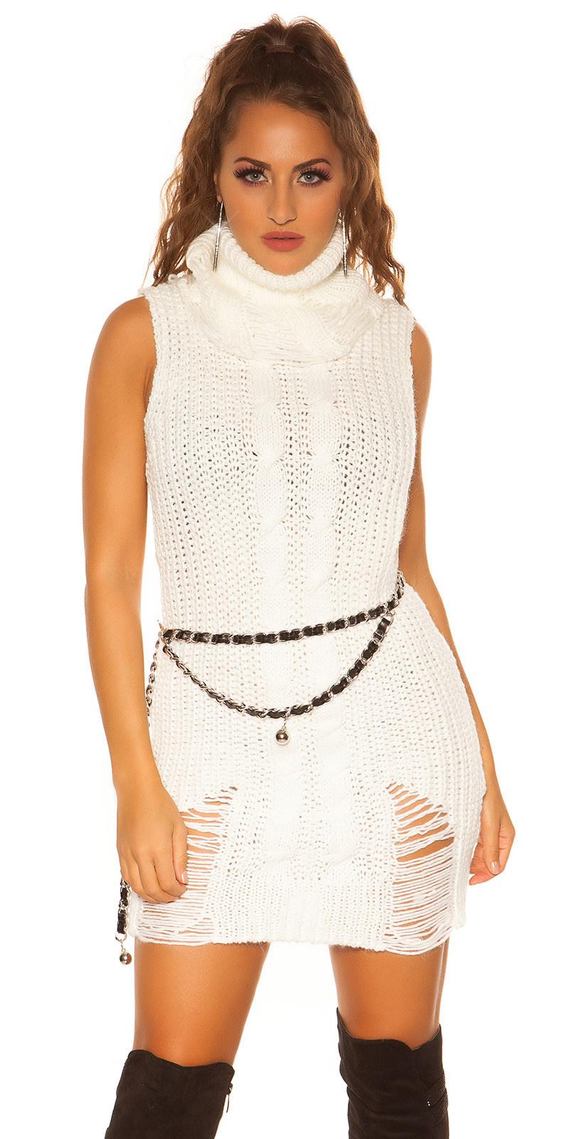 Trendy col gebreide mini jurkje / lange trui wit