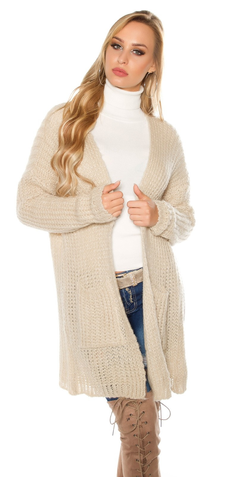 Trendy mohair chunky knit cardigan Beige