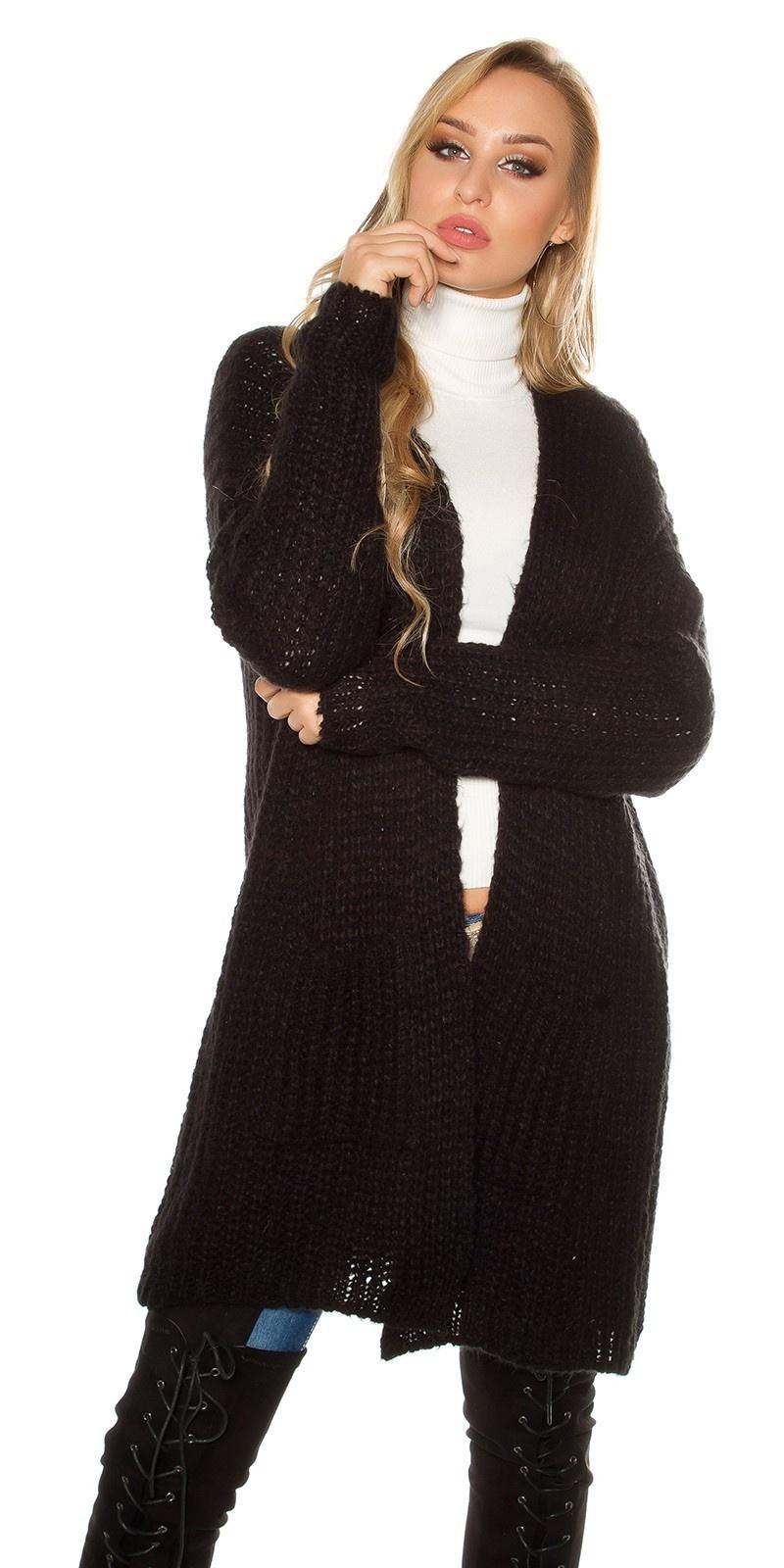Trendy mohair chunky knit cardigan Black