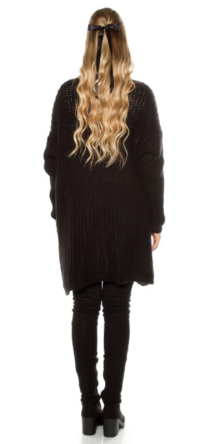 Trendy mohair chunky knit cardigan Black