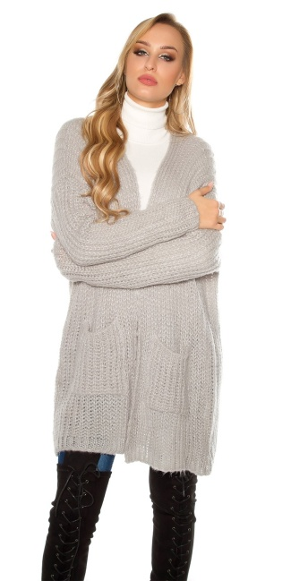 Trendy mohair chunky knit cardigan Grey