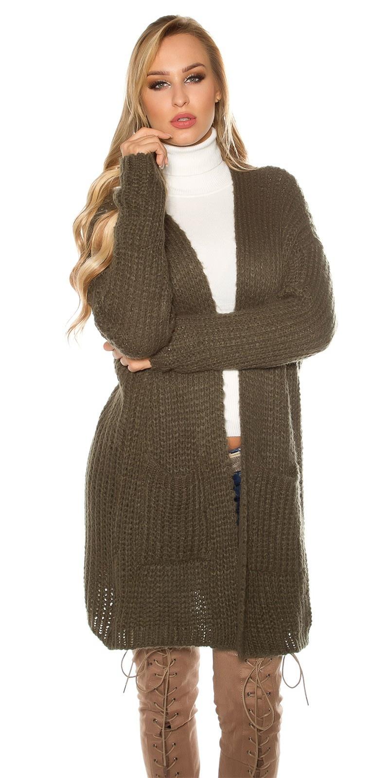Trendy mohair grof gebreide cardigan khaki