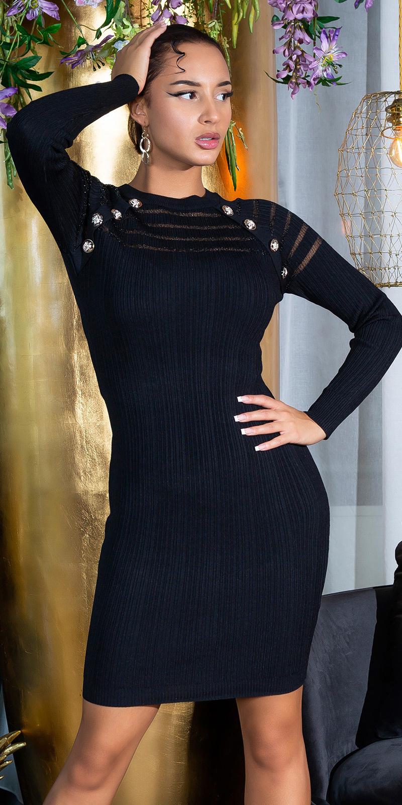 Sexy gebreide jurk met doorzichtig detail zwart