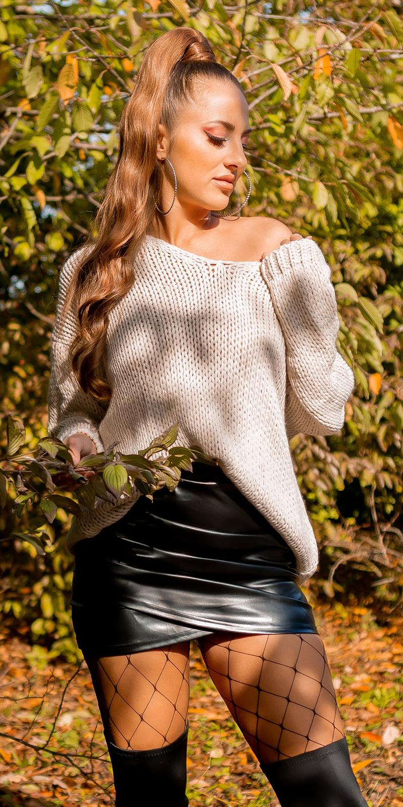 Trendy v-hals gebreide oversized sweater-trui beige