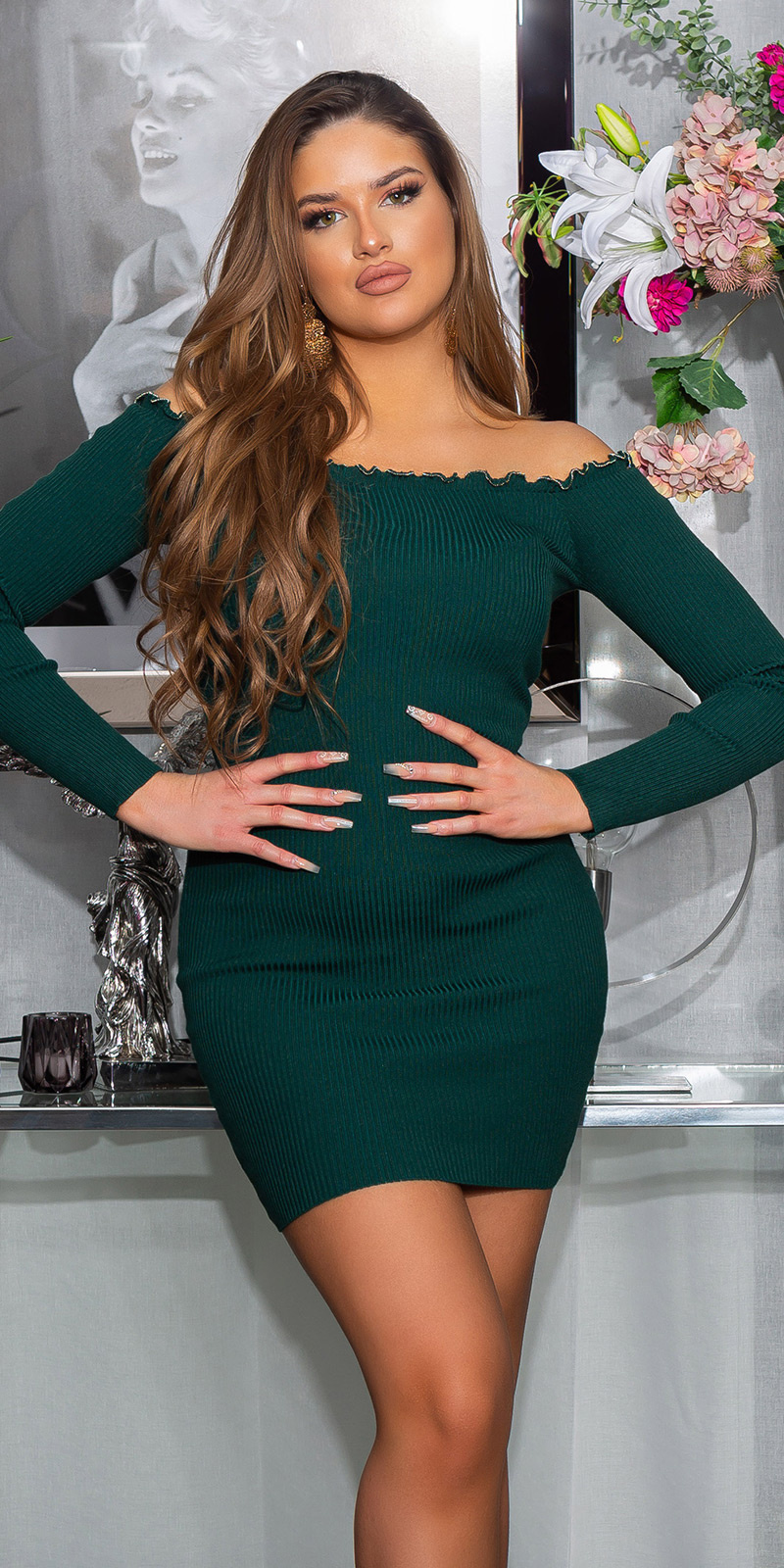 Sexy carmen-halslijn jurk groen