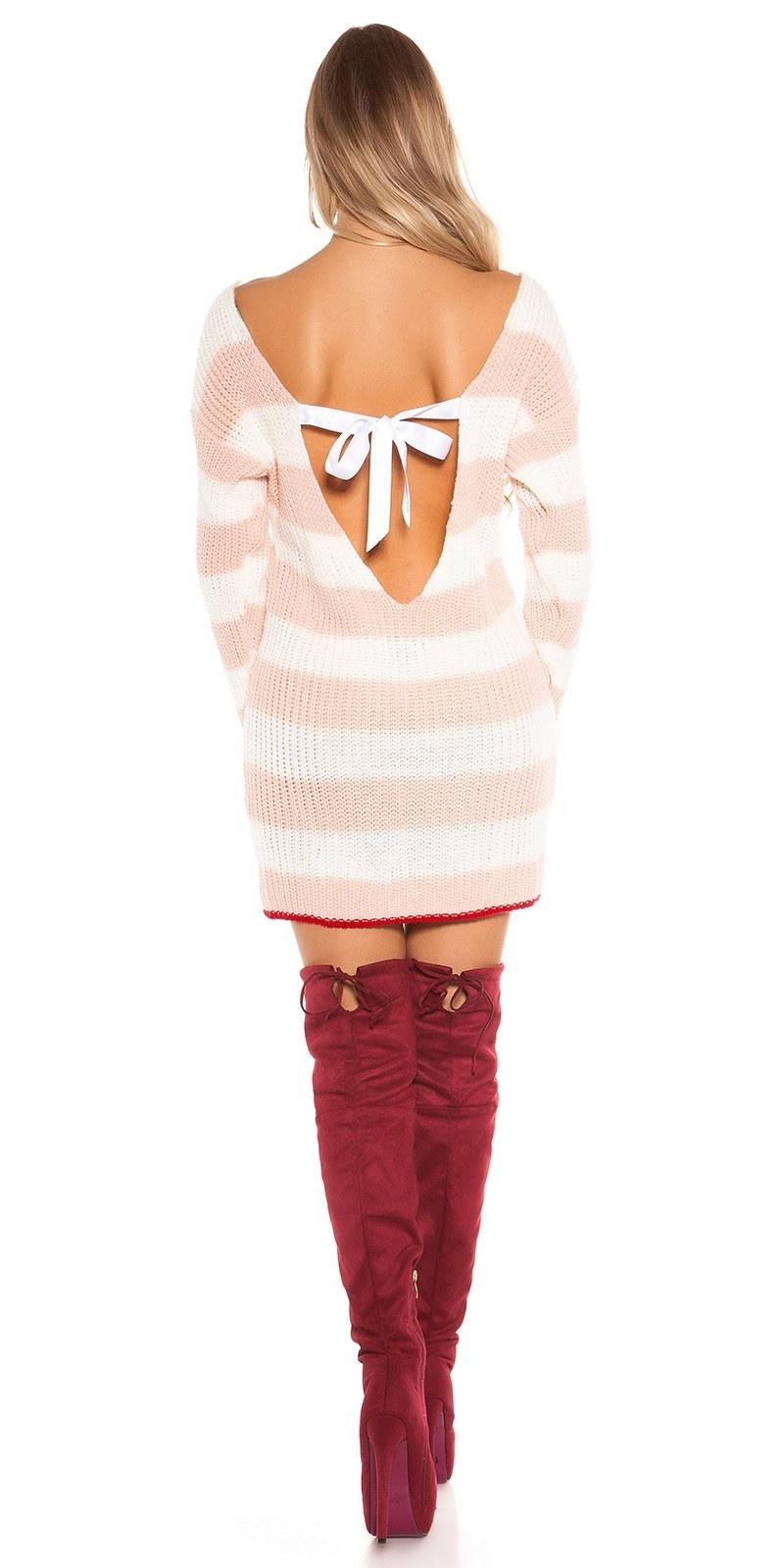 Sexy KOUCLA knit minidress/long jumper w.sexy back Pink
