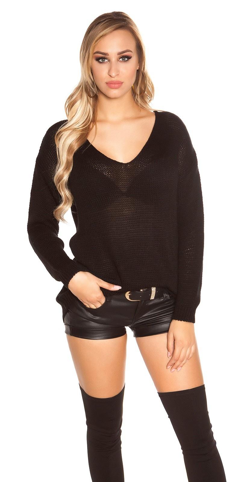 Trendy oversized grof gebreide trui zwart