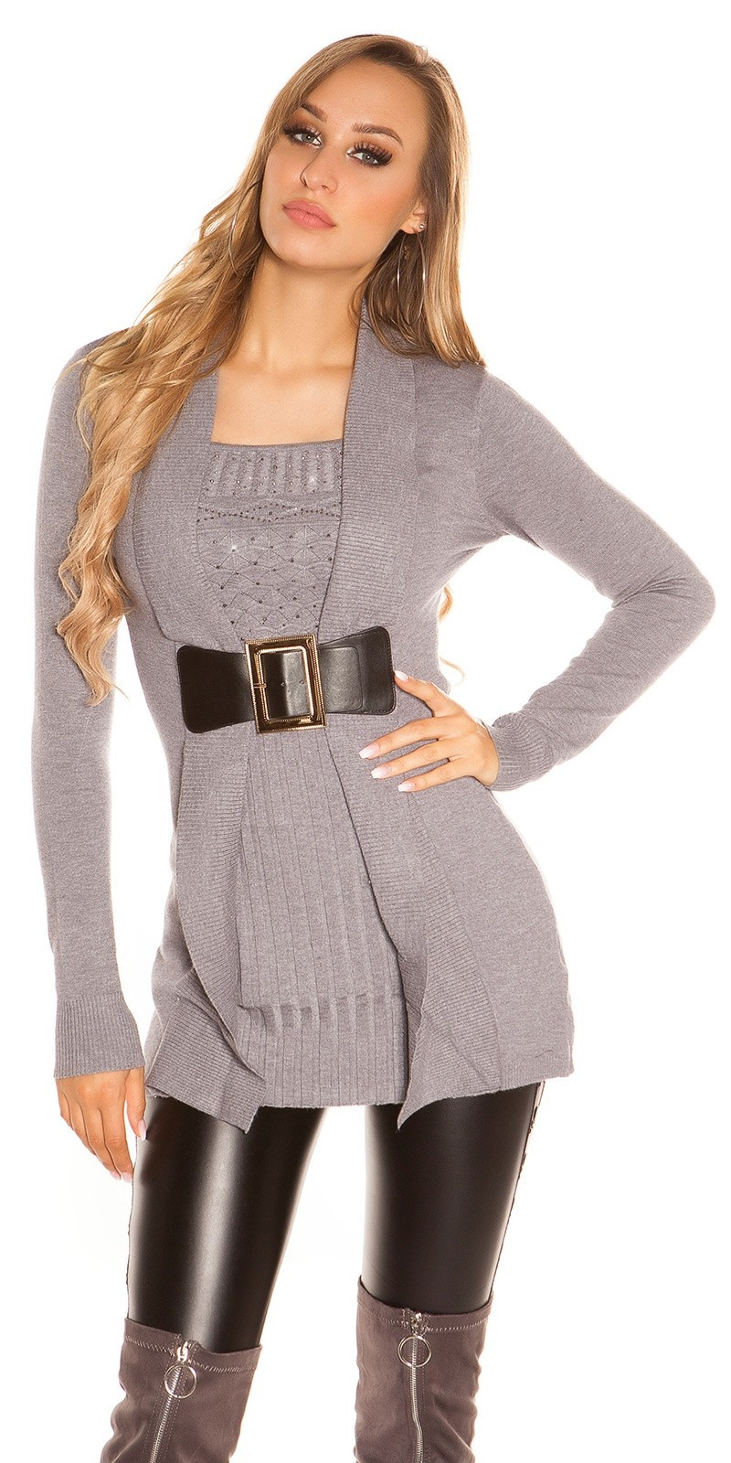 Sexy long jumper 2in1 look w. buckle & rhinestones Grey