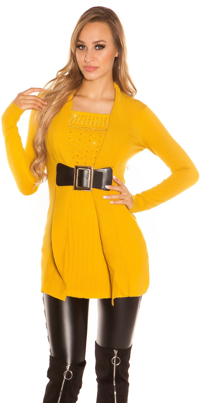 Sexy long jumper 2in1 look w. buckle & rhinestones Mustard