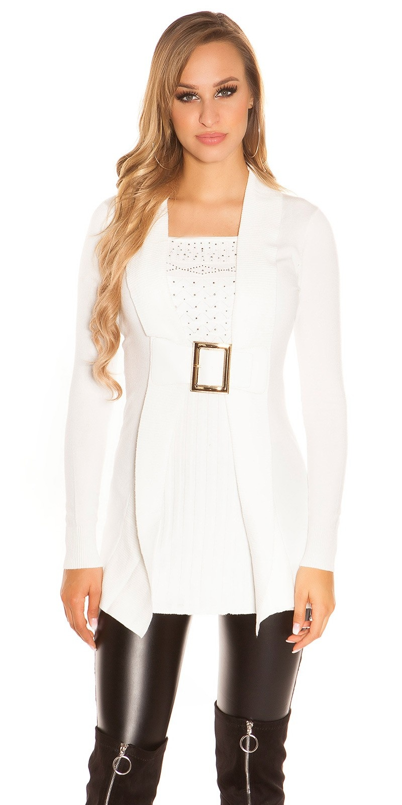 Sexy long jumper 2in1 look w. buckle & rhinestones White