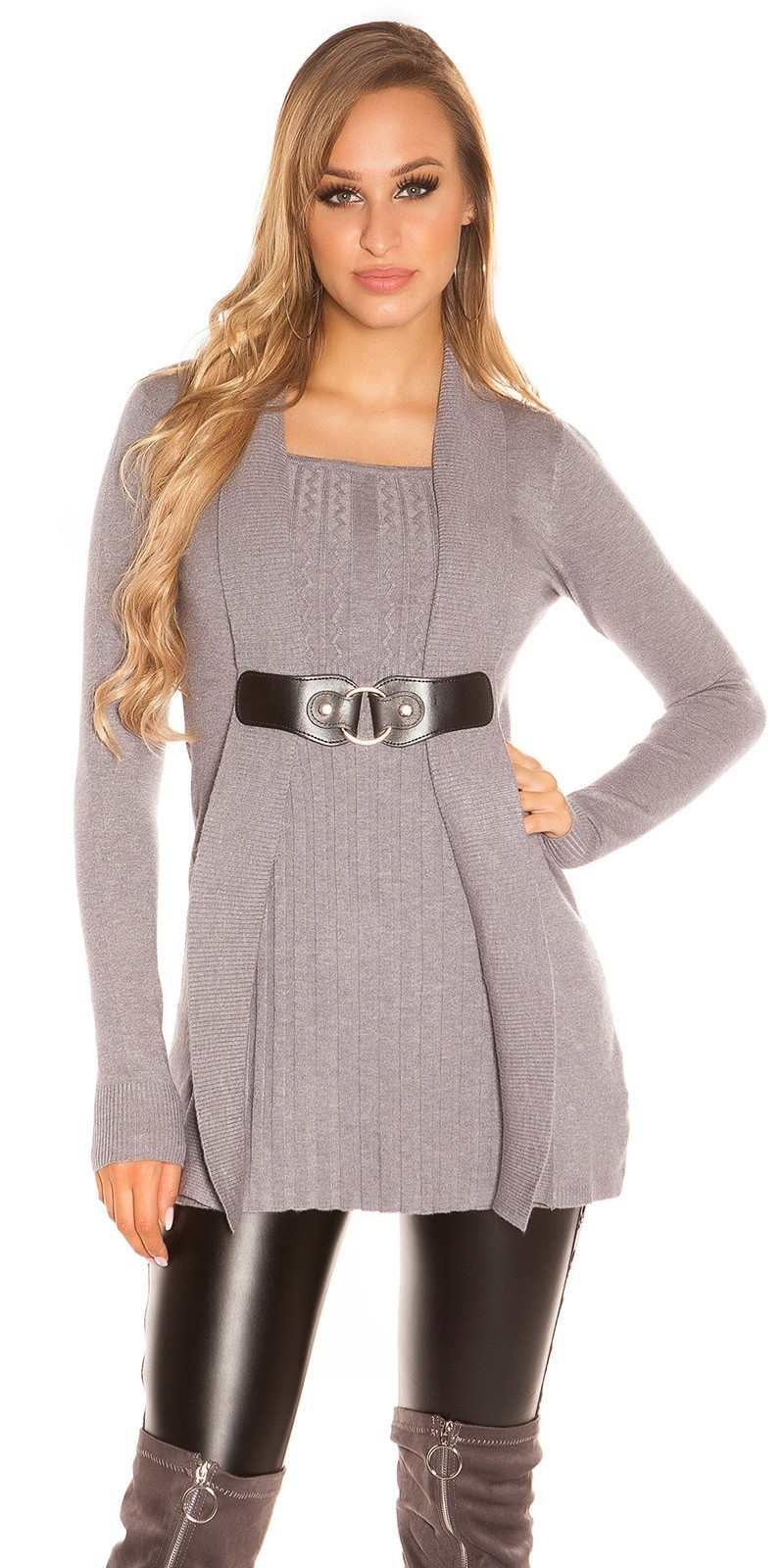 Sexy Longpulli 2in1 look with buckle Grey