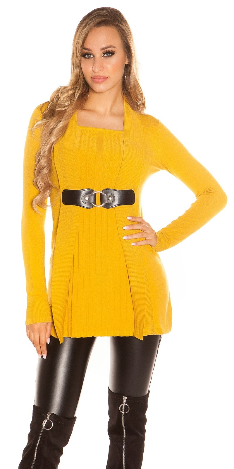Sexy Longpulli 2in1 look with buckle Mustard