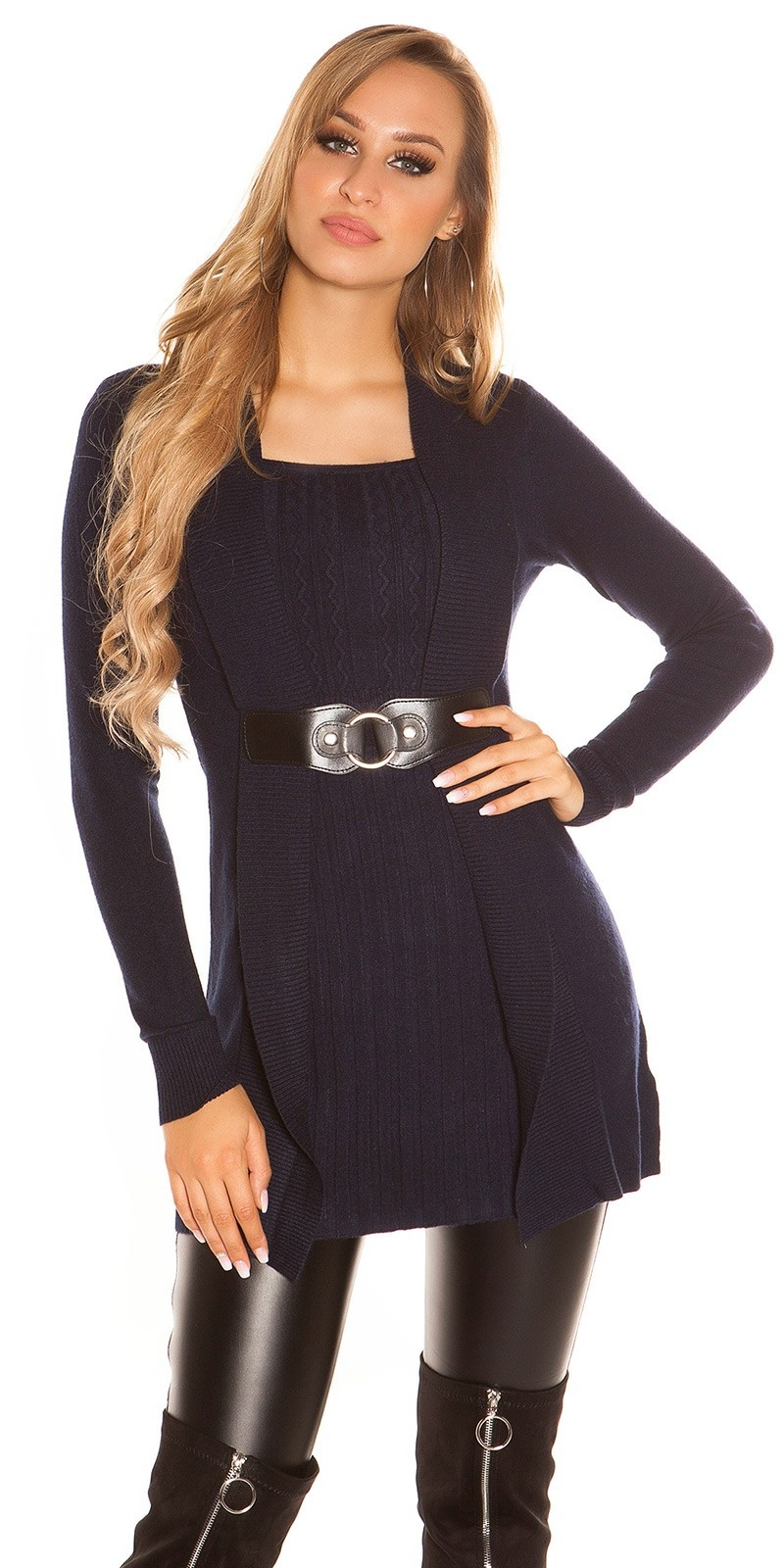 Sexy Longpulli 2in1 look with buckle Navy