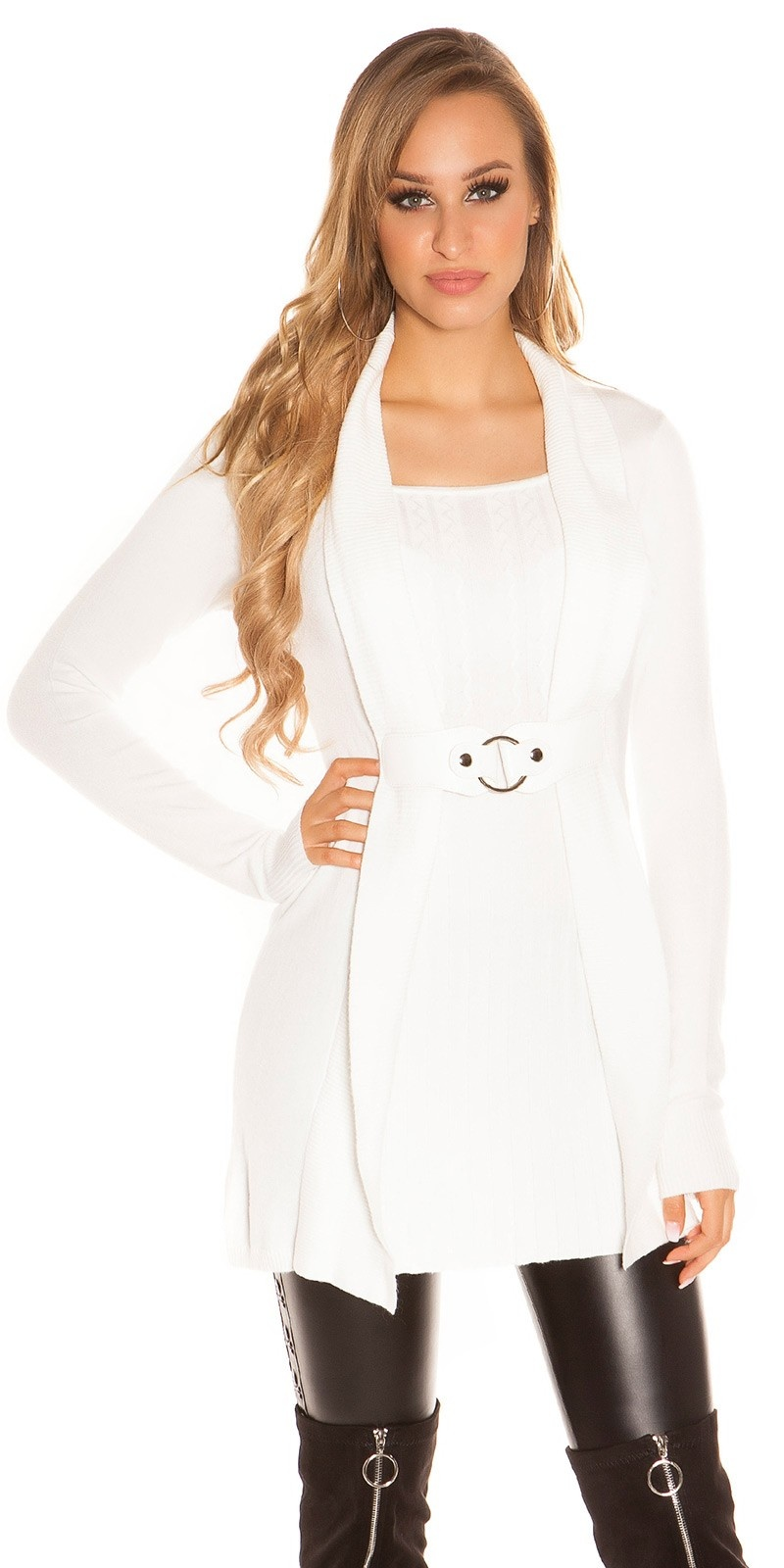 Sexy Longpulli 2in1 look with buckle White