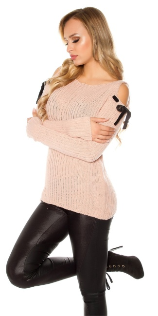 Trendy cold shoulder chunky knit mohair sweater Antiquepink