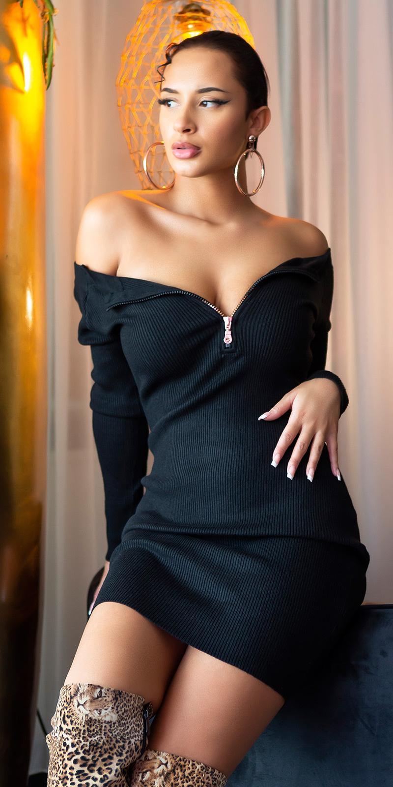 Sexy bateau gebreide jurk met ritssluitingen zwart