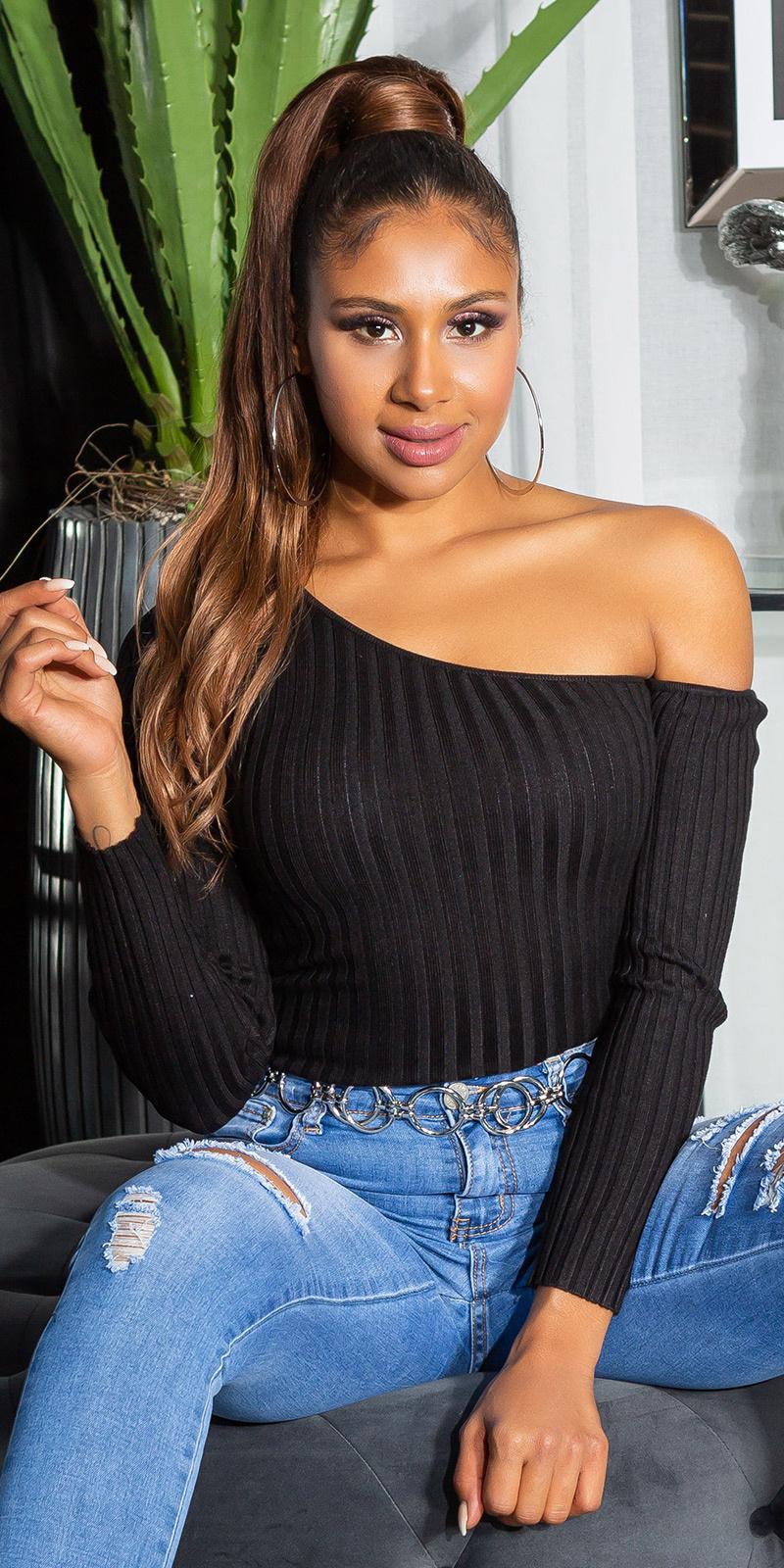 Sexy een-schouder geribbelde sweater-trui zwart