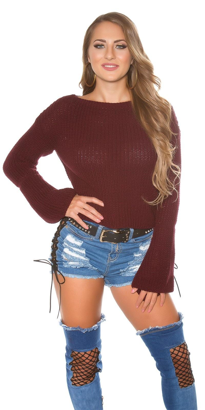 Trendy KouCla knit jumper with bell sleeve Bordeaux