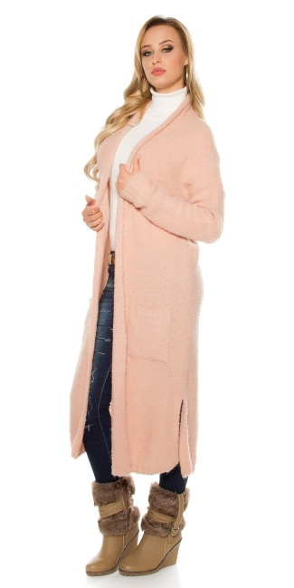 Trendy Boucle mohair cardigan Antiquepink