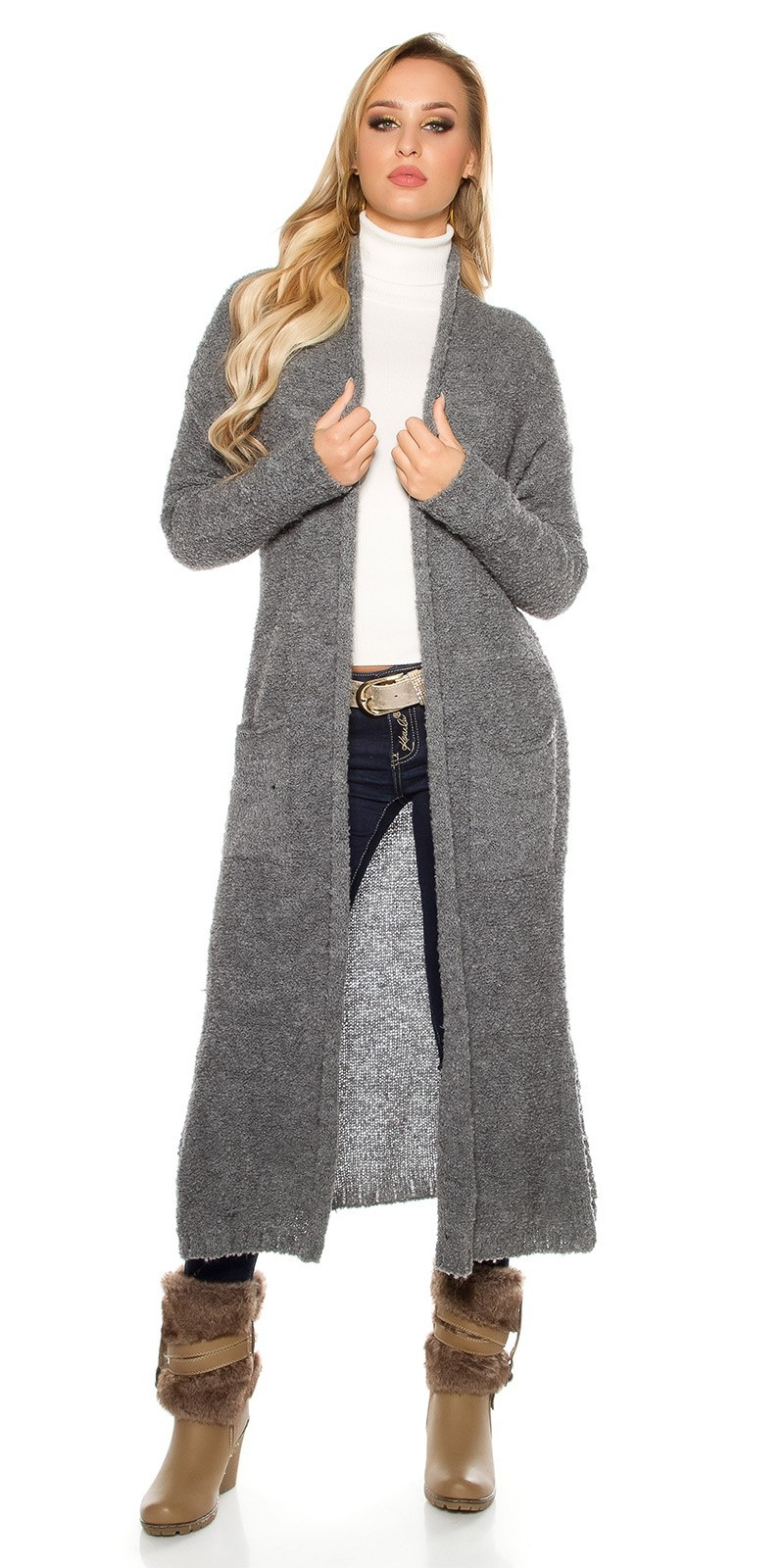 Trendy Boucle mohair cardigan Grey