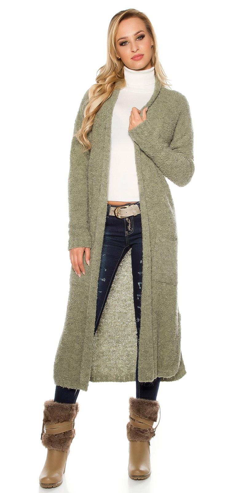 Trendy Boucle mohair cardigan Khaki