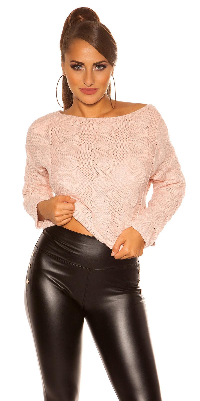Trendy crop plait patroon sweater-trui antiekroze