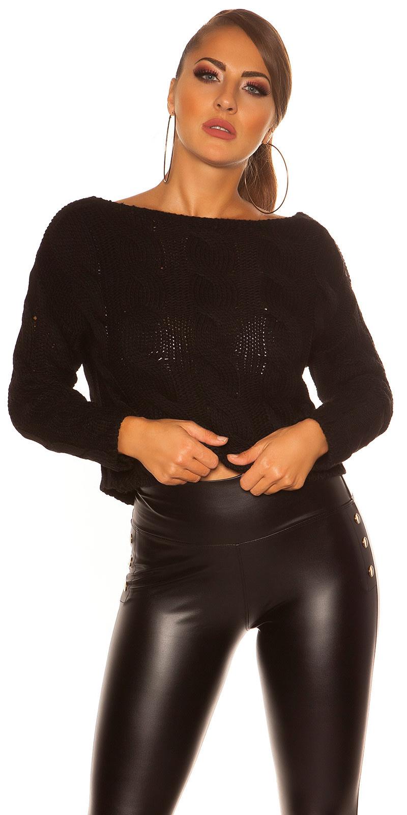 Trendy KouCla Crop plait pattern sweater Black