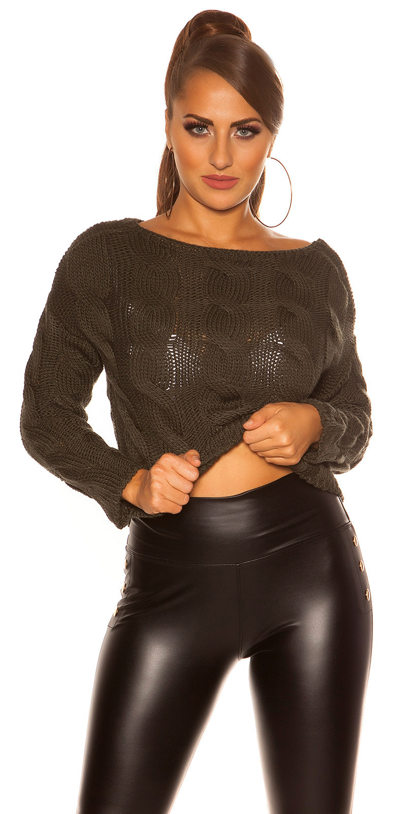 Trendy crop plait patroon sweater-trui khaki