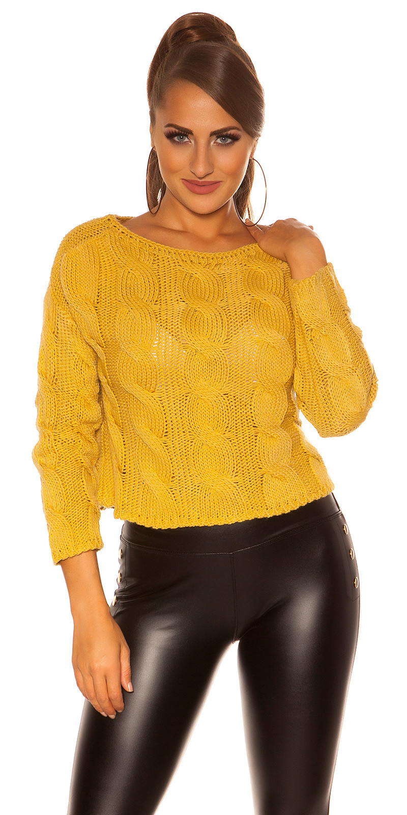 Trendy crop plait patroon sweater-trui mosterdgeel