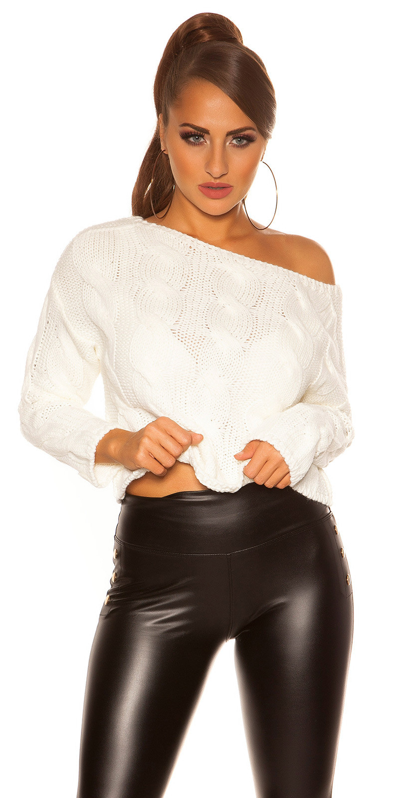 Trendy crop plait patroon sweater-trui wit