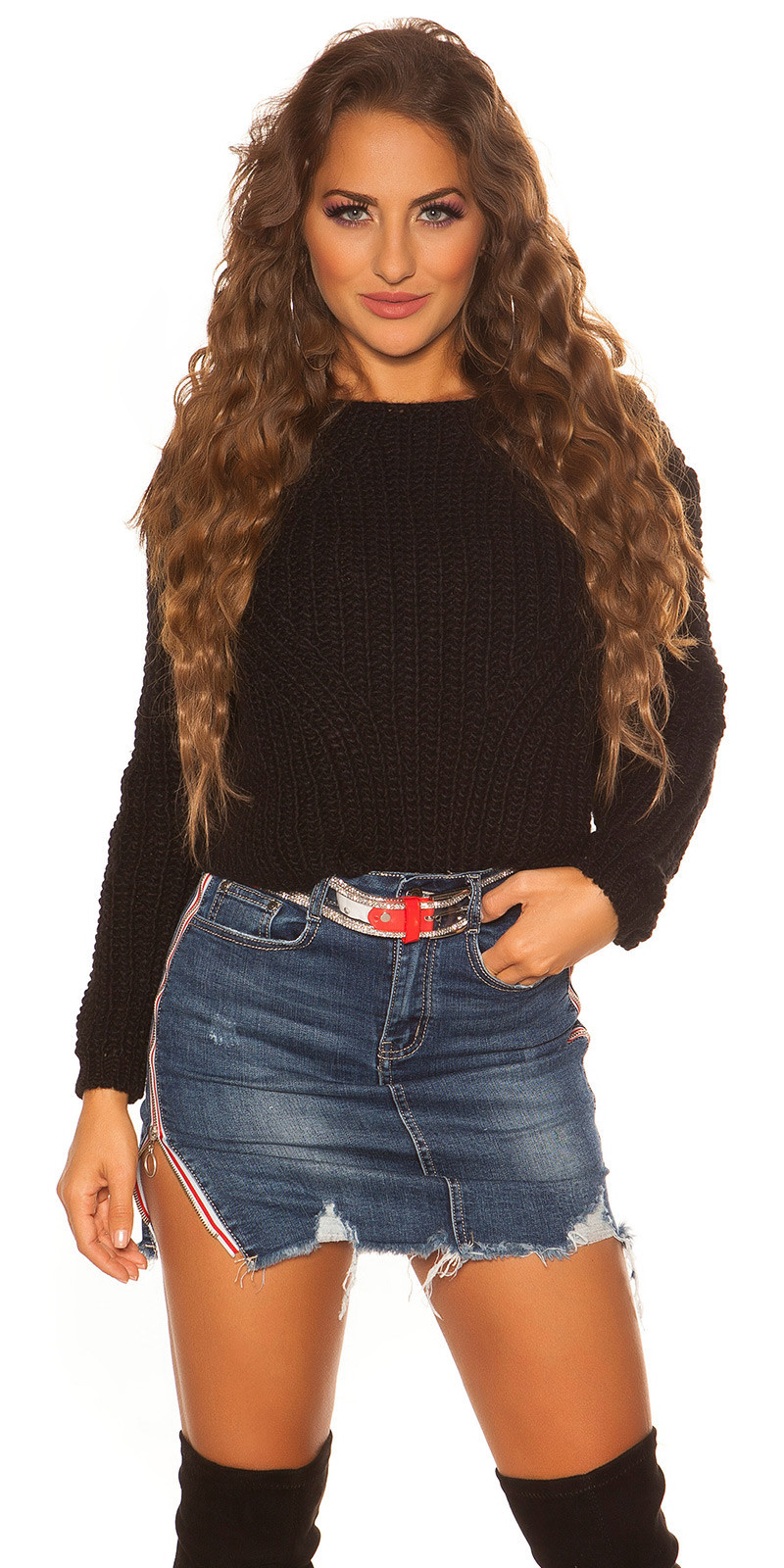 Sexy crop gebreide pullover zwart
