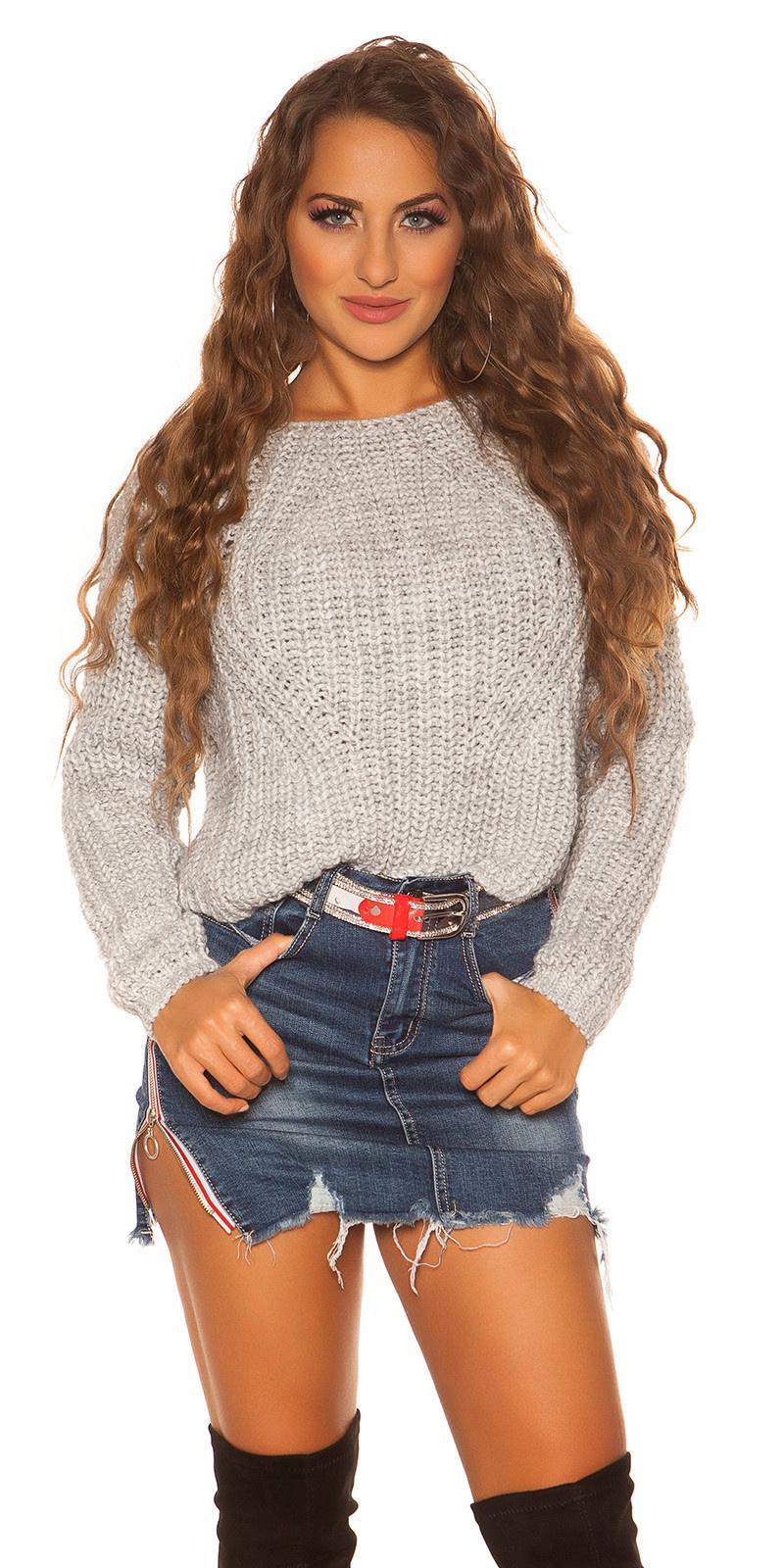 Sexy crop gebreide pullover grijs