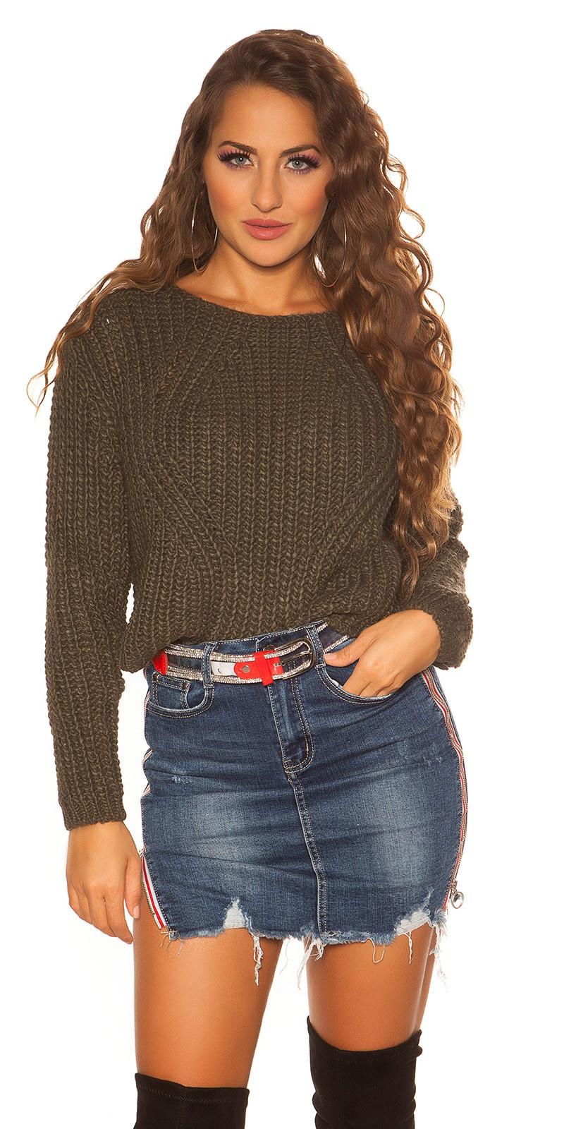 Sexy crop gebreide pullover khaki