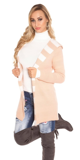 Trendy Koucla knit Cardigan long with hoodie Antiquepink