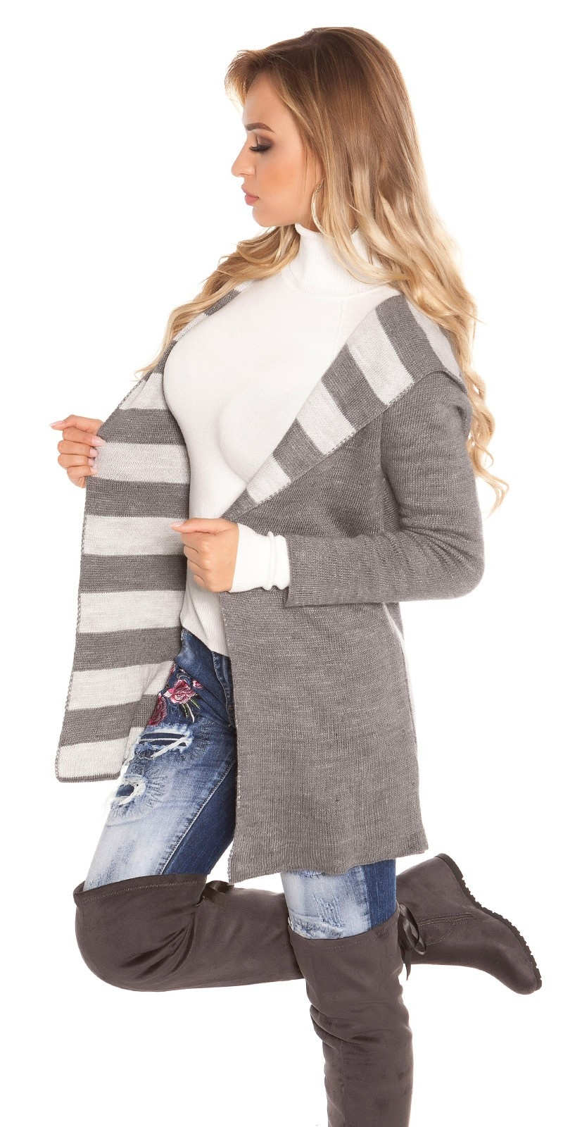 Trendy Koucla knit Cardigan long with hoodie Grey