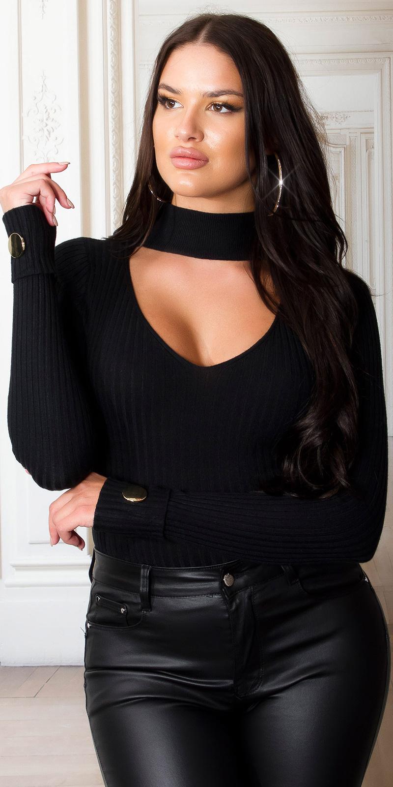Sexy geribbelde coltrui met decoratieve knopen zwart