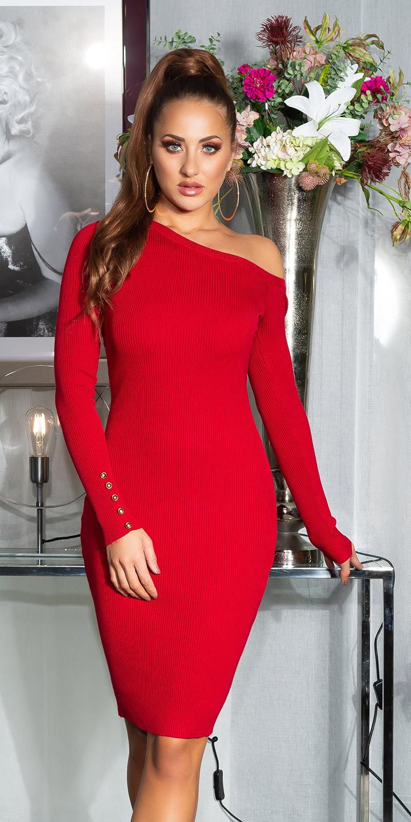 Sexy een-schouder gebreide jurk met decoratieve knopen rood