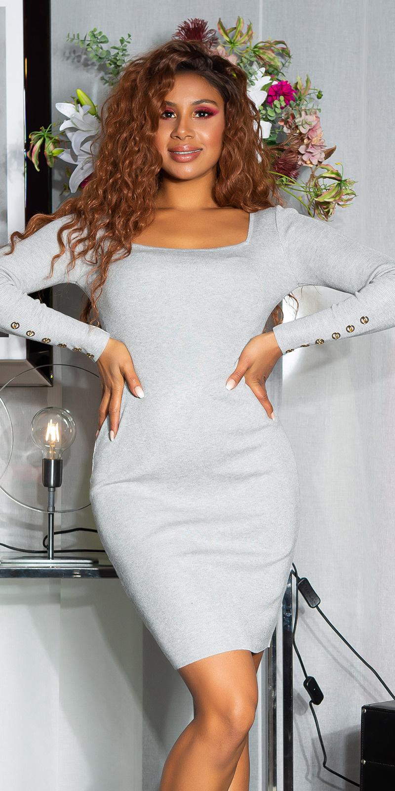 Sexy getailleerde gebreide jurk grijs