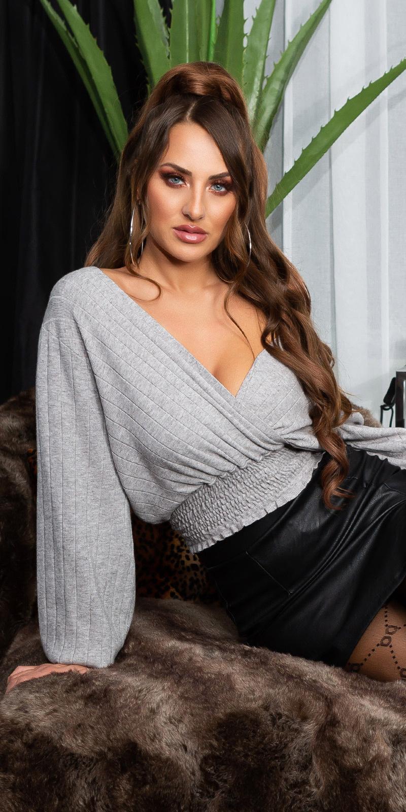 Sexy v-halter korte fijn gebreide pullover grijs