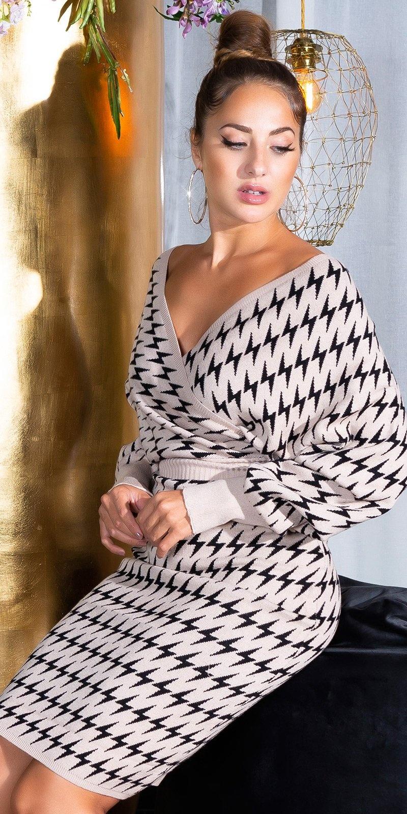 Sexy kruis v-halter aangesloten gebreide jurk beige