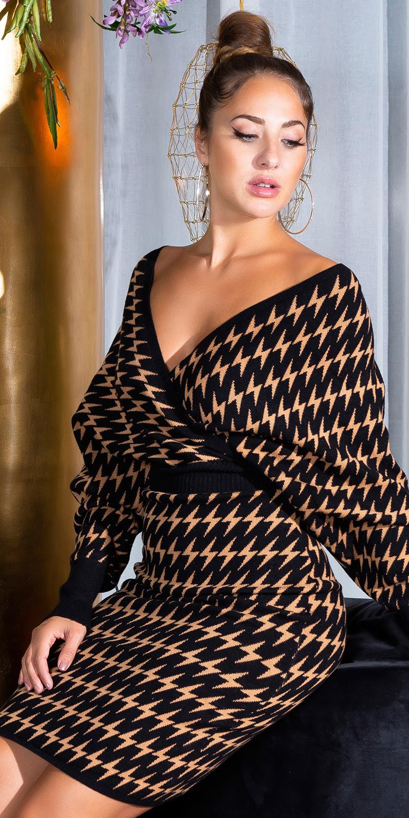 Sexy kruis v-halter aangesloten gebreide jurk zwart