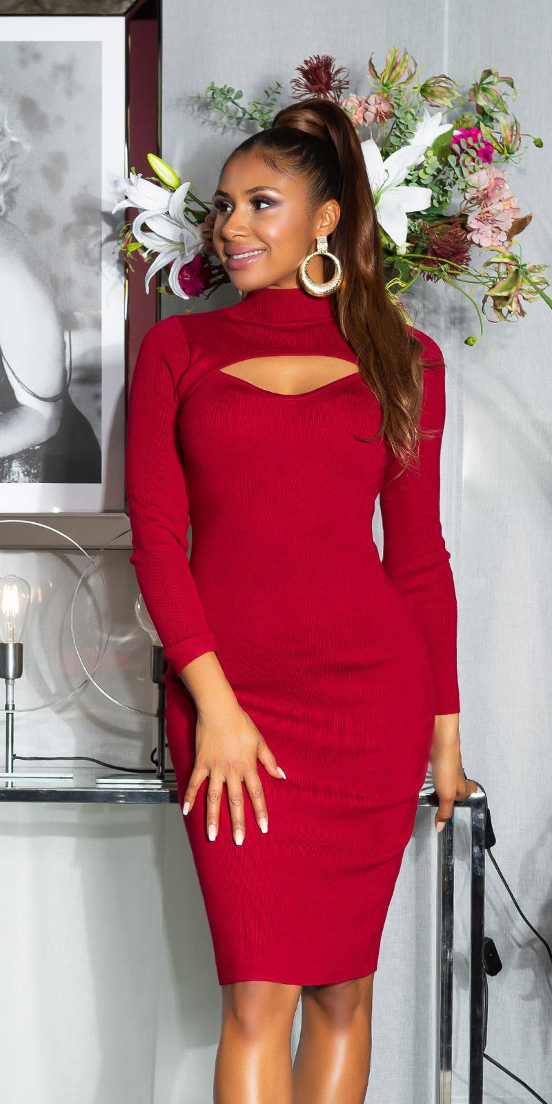 Sexy midi gebreide jurk bordeaux