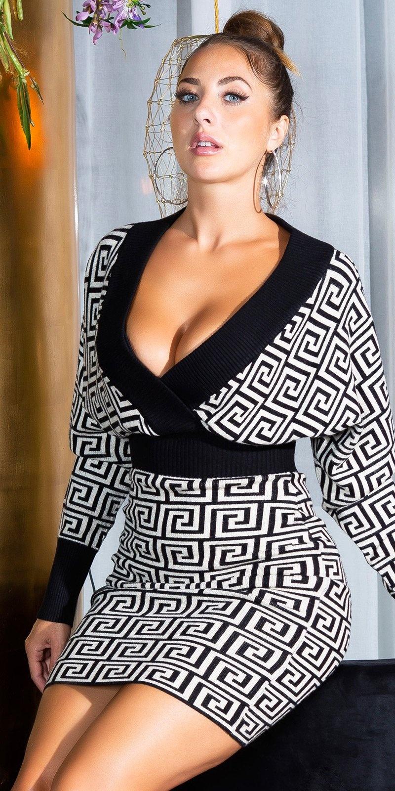 Sexy aangesloten v-halter gebreide jurk beige