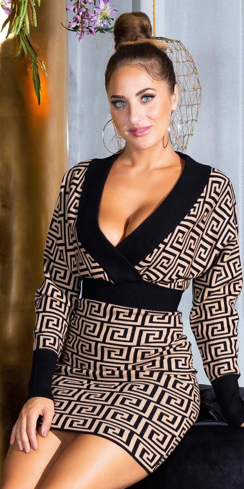 Sexy aangesloten v-halter gebreide jurk bruin