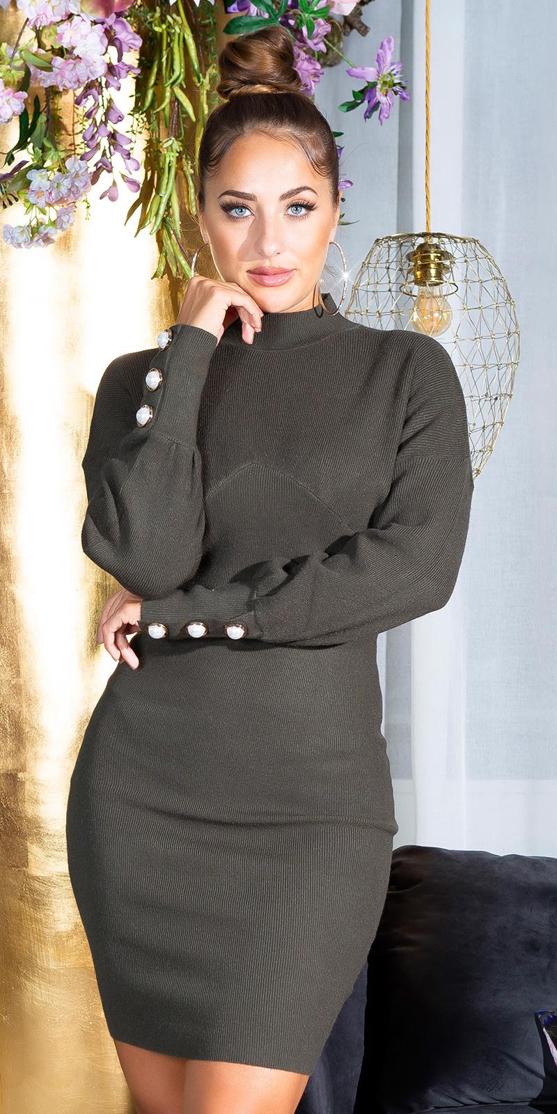 Sexy aansluitende gebreide jurk met staande kraag khaki
