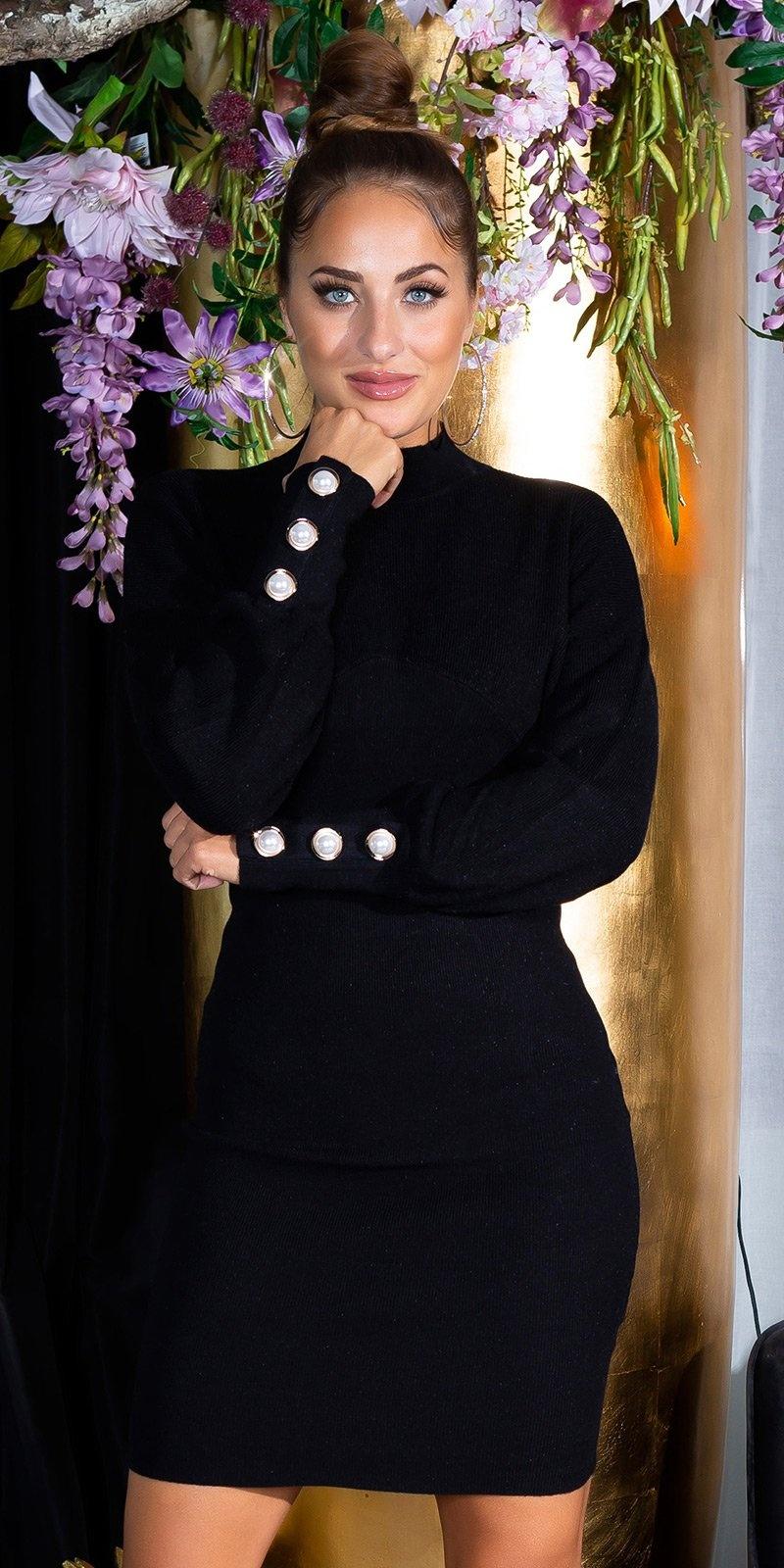 Sexy aansluitende gebreide jurk met staande kraag zwart