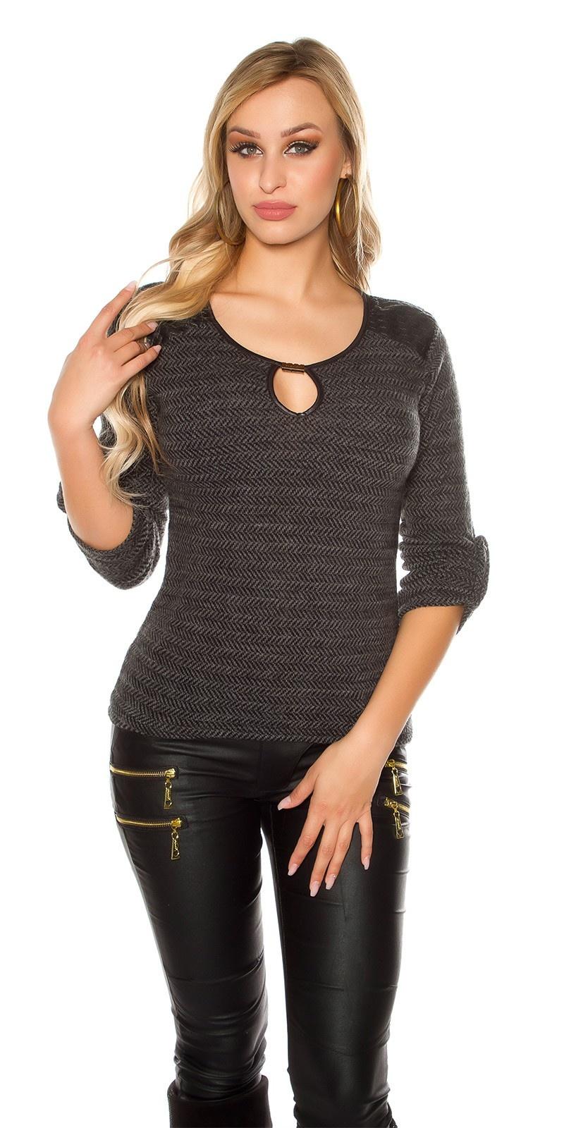 Trendy pullover met kunstleder & inkijk zwart