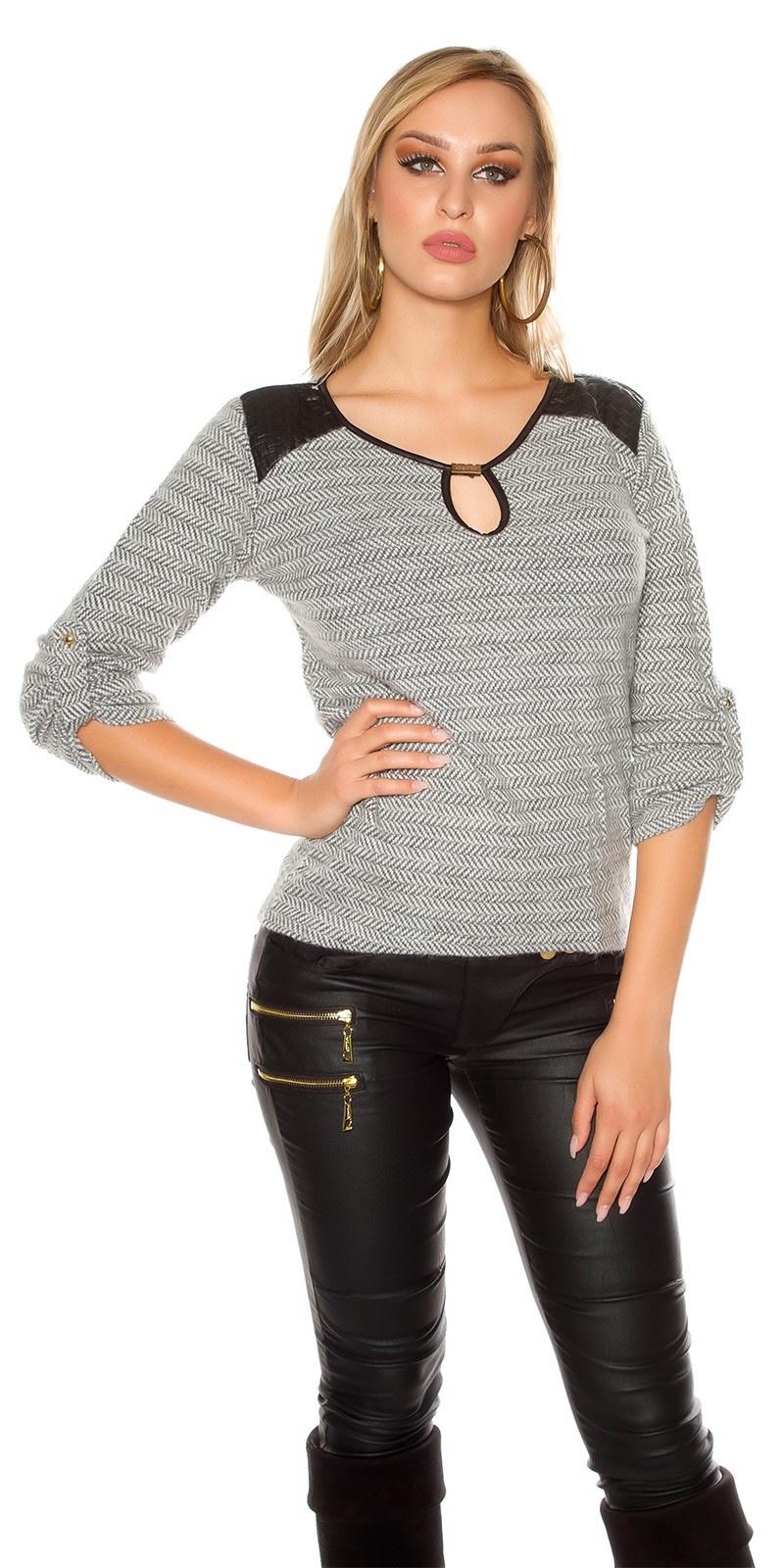 Trendy pullover met kunstleder & inkijk grijs